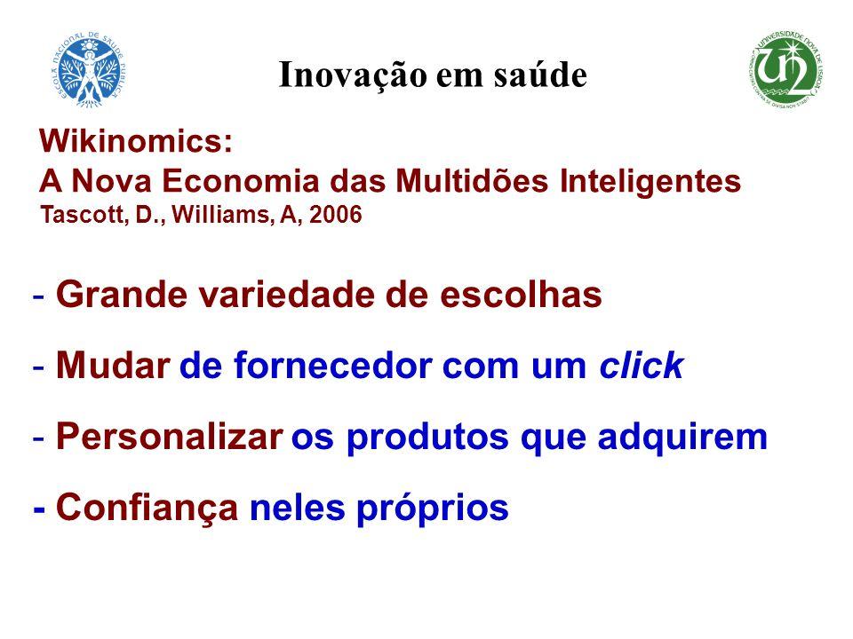 - Grande variedade de escolhas - Mudar de fornecedor com um click - Personalizar os produtos que adquirem - Confiança neles próprios Wikinomics: A Nov