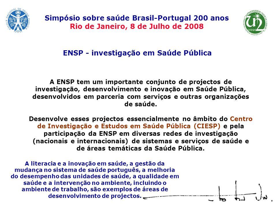 A ENSP tem um importante conjunto de projectos de investigação, desenvolvimento e inovação em Saúde Pública, desenvolvidos em parceria com serviços e