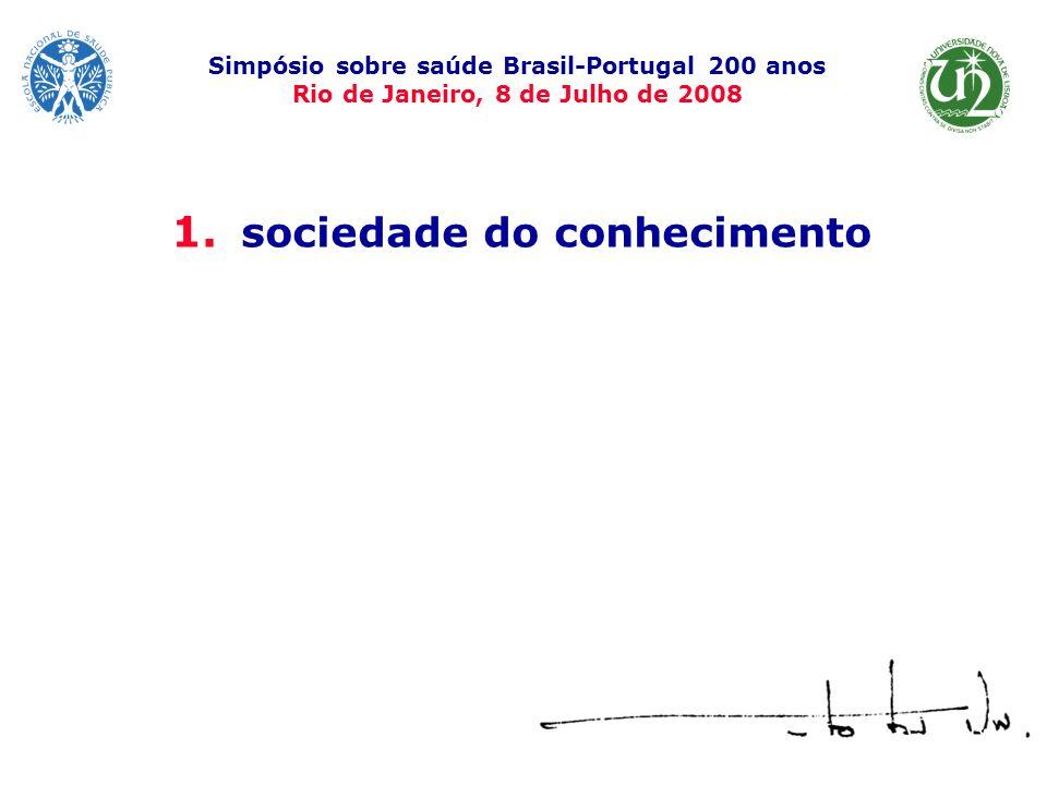 1. sociedade do conhecimento Simpósio sobre saúde Brasil-Portugal 200 anos Rio de Janeiro, 8 de Julho de 2008