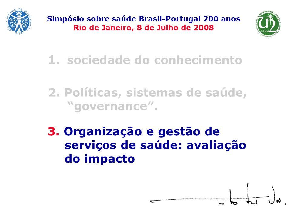 1. sociedade do conhecimento Simpósio sobre saúde Brasil-Portugal 200 anos Rio de Janeiro, 8 de Julho de 2008 3. Organização e gestão de serviços de s