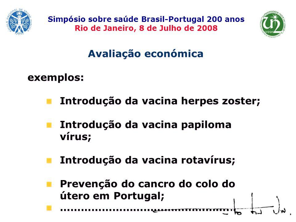 Avaliação económica exemplos: Introdução da vacina herpes zoster; Introdução da vacina papiloma vírus; Introdução da vacina rotavírus; Prevenção do ca