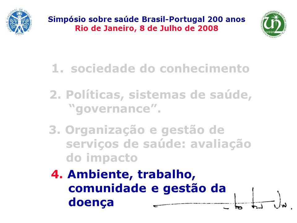 1. sociedade do conhecimento Simpósio sobre saúde Brasil-Portugal 200 anos Rio de Janeiro, 8 de Julho de 2008 4. Ambiente, trabalho, comunidade e gest