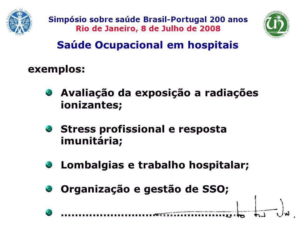 Saúde Ocupacional em hospitais exemplos: Avaliação da exposição a radiações ionizantes; Stress profissional e resposta imunitária; Lombalgias e trabal
