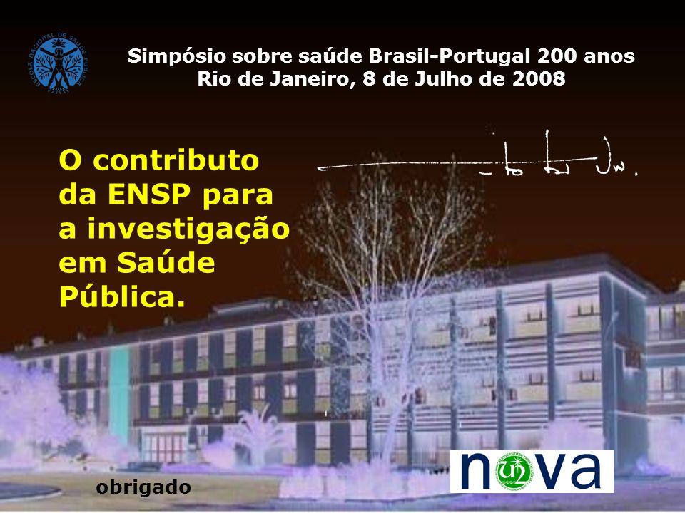 O contributo da ENSP para a investigação em Saúde Pública. Simpósio sobre saúde Brasil-Portugal 200 anos Rio de Janeiro, 8 de Julho de 2008 obrigado