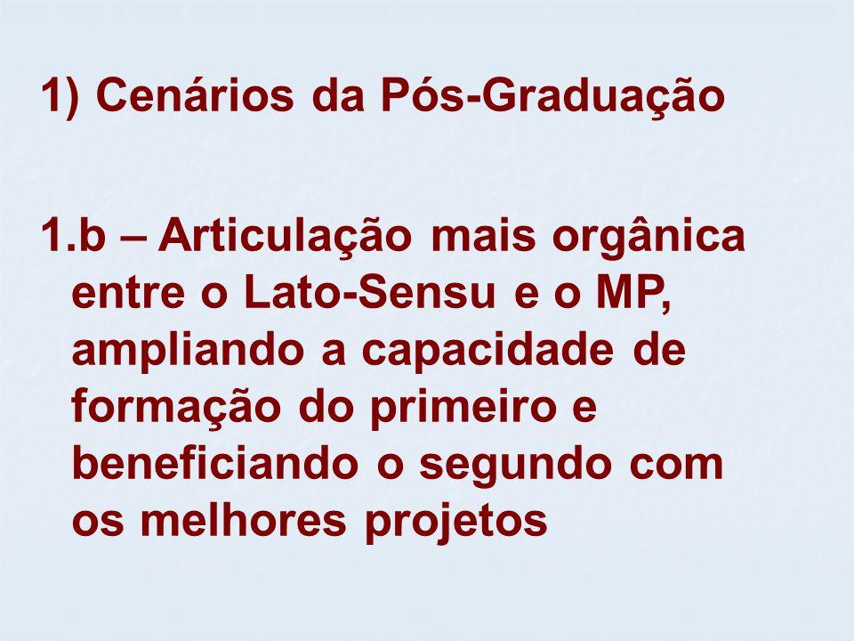 1) Cenários da Pós-Graduação 1.b – Articulação mais orgânica entre o Lato-Sensu e o MP, ampliando a capacidade de formação do primeiro e beneficiando