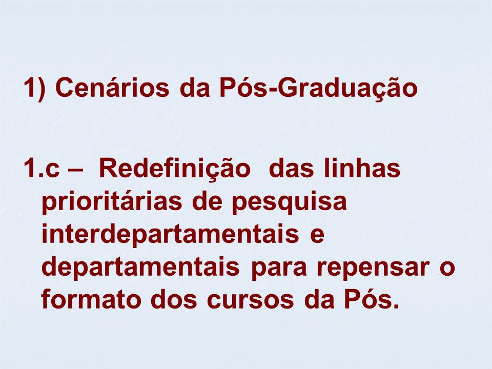 1) Cenários da Pós-Graduação 1.c – Redefinição das linhas prioritárias de pesquisa interdepartamentais e departamentais para repensar o formato dos cu