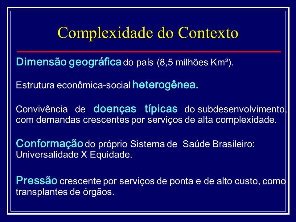 Dimensão geográfica do país (8,5 milhões Km²). Estrutura econômica-social heterogênea.
