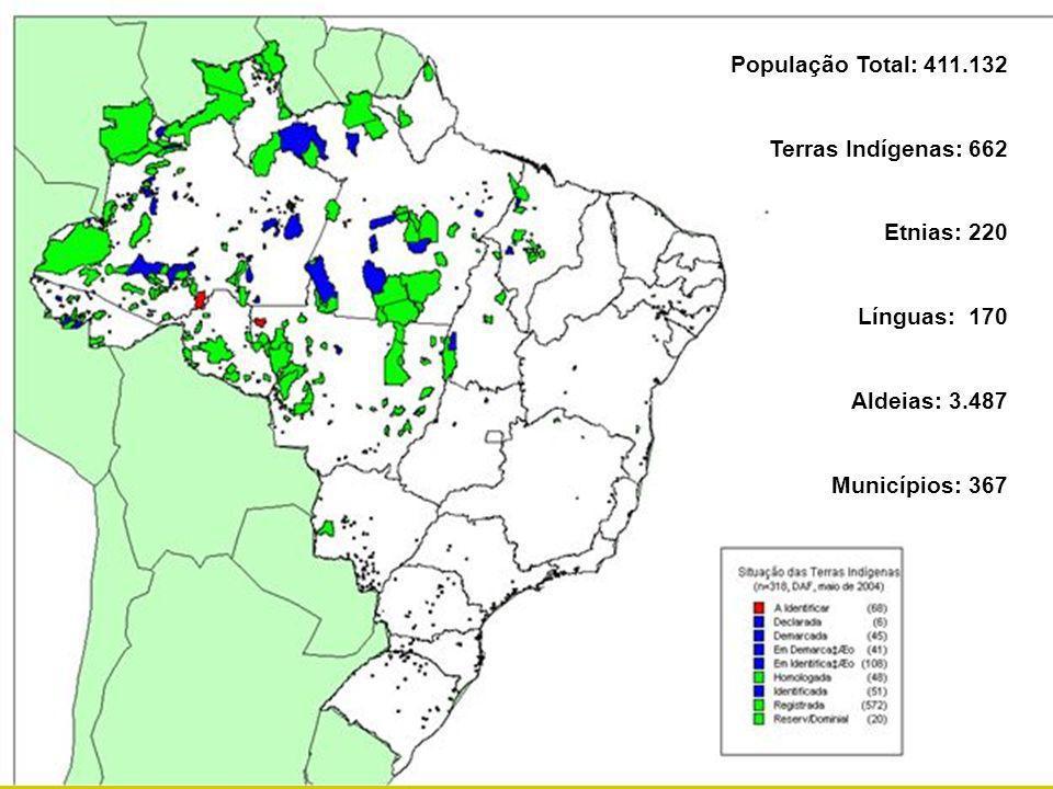 Ministério da Saúde Fundação Nacional de Saúde População Total: 411.132 Terras Indígenas: 662 Etnias: 220 Línguas: 170 Aldeias: 3.487 Municípios: 367