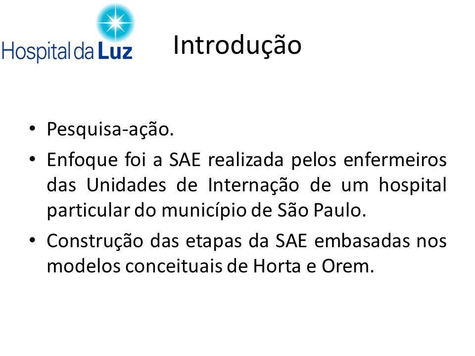 Introdução Pesquisa-ação. Enfoque foi a SAE realizada pelos enfermeiros das Unidades de Internação de um hospital particular do município de São Paulo