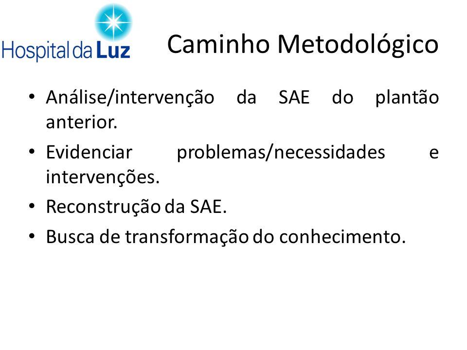 Caminho Metodológico Análise/intervenção da SAE do plantão anterior. Evidenciar problemas/necessidades e intervenções. Reconstrução da SAE. Busca de t