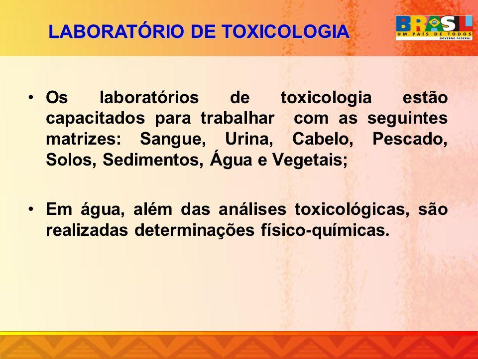 Os laboratórios de toxicologia estão capacitados para trabalhar com as seguintes matrizes: Sangue, Urina, Cabelo, Pescado, Solos, Sedimentos, Água e V