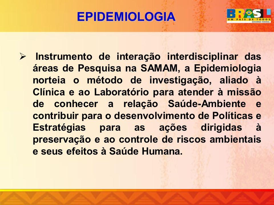 EPIDEMIOLOGIA Instrumento de interação interdisciplinar das áreas de Pesquisa na SAMAM, a Epidemiologia norteia o método de investigação, aliado à Clí
