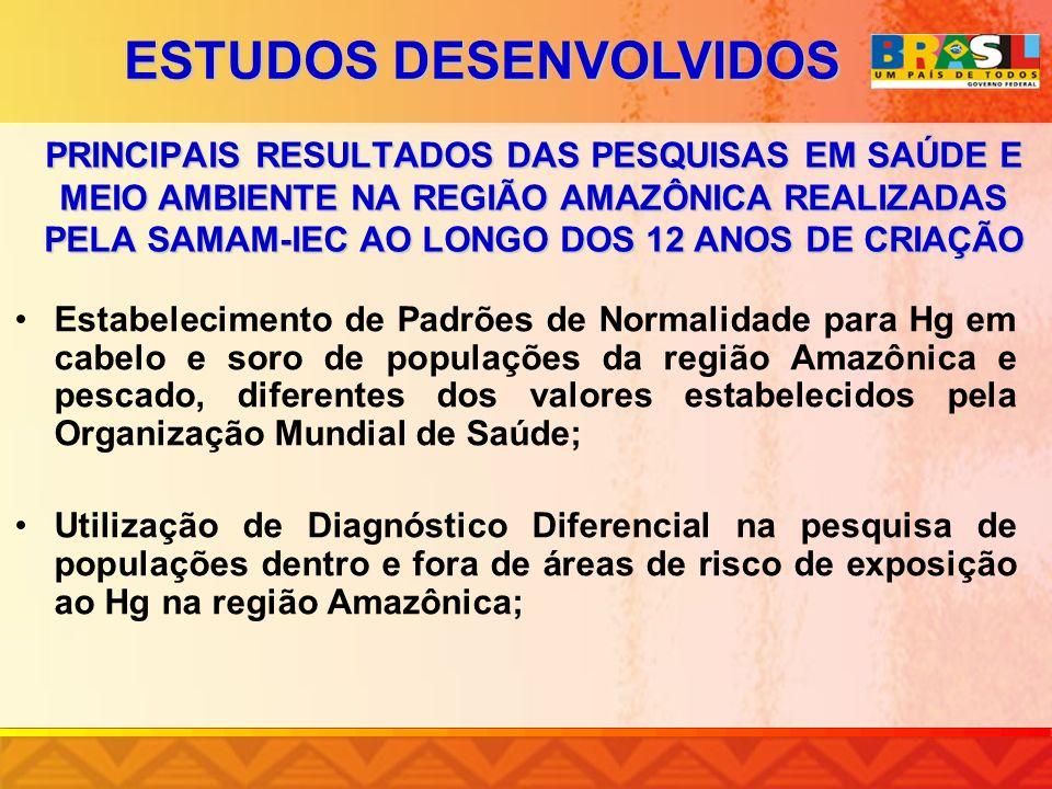 PRINCIPAIS RESULTADOS DAS PESQUISAS EM SAÚDE E MEIO AMBIENTE NA REGIÃO AMAZÔNICA REALIZADAS PELA SAMAM-IEC AO LONGO DOS 12 ANOS DE CRIAÇÃO Estabelecim