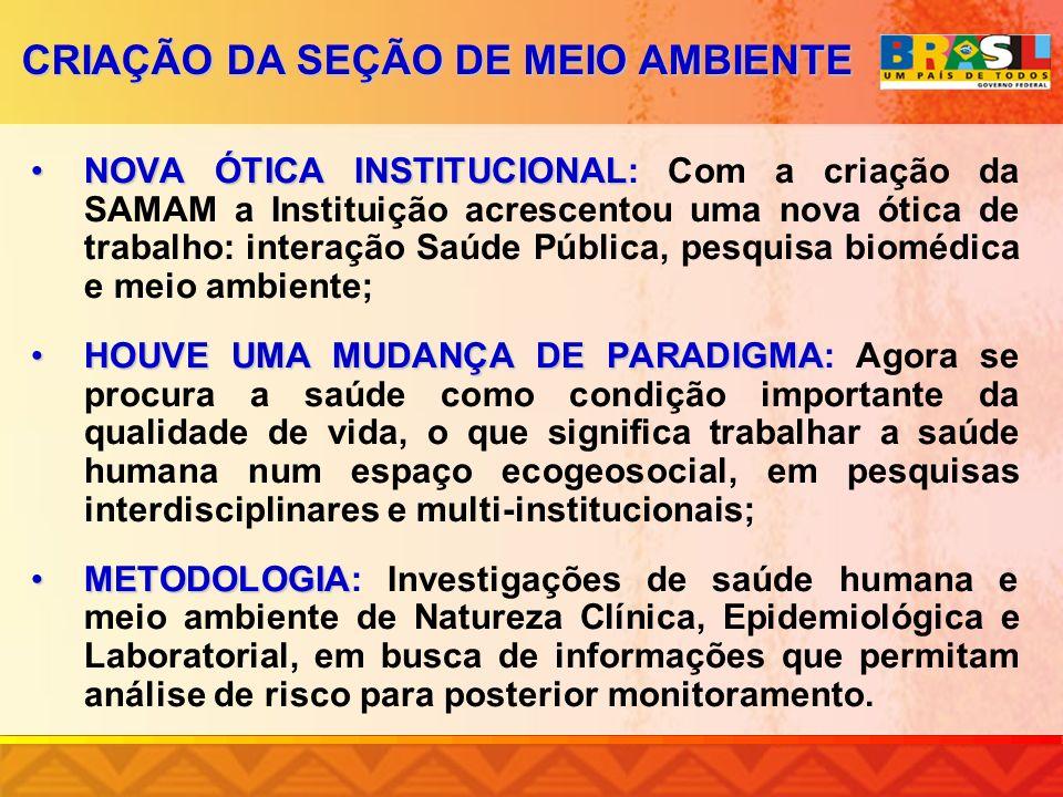 NOVA ÓTICA INSTITUCIONALNOVA ÓTICA INSTITUCIONAL: Com a criação da SAMAM a Instituição acrescentou uma nova ótica de trabalho: interação Saúde Pública