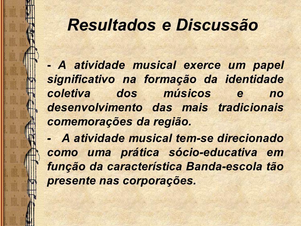 Resultados e Discussão - A atividade musical exerce um papel significativo na formação da identidade coletiva dos músicos e no desenvolvimento das mai