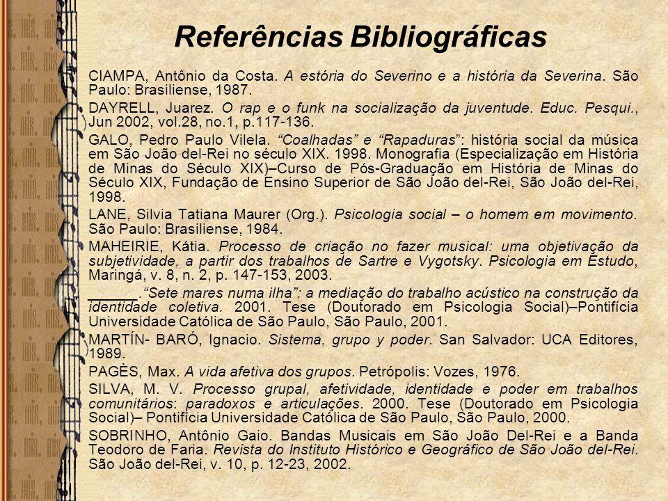 Referências Bibliográficas CIAMPA, Antônio da Costa. A estória do Severino e a história da Severina. São Paulo: Brasiliense, 1987. DAYRELL, Juarez. O