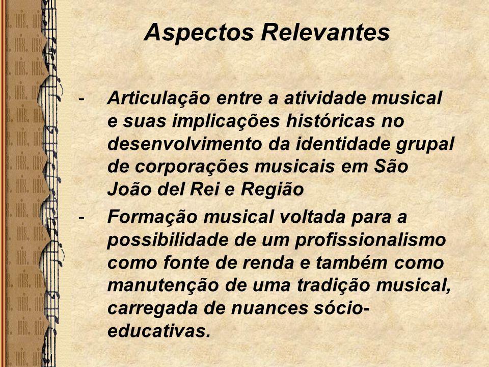 Aspectos Relevantes -Articulação entre a atividade musical e suas implicações históricas no desenvolvimento da identidade grupal de corporações musica