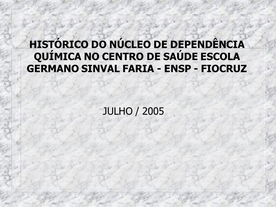 HISTÓRICO DO NÚCLEO DE DEPENDÊNCIA QUÍMICA NO CENTRO DE SAÚDE ESCOLA GERMANO SINVAL FARIA - ENSP - FIOCRUZ JULHO / 2005