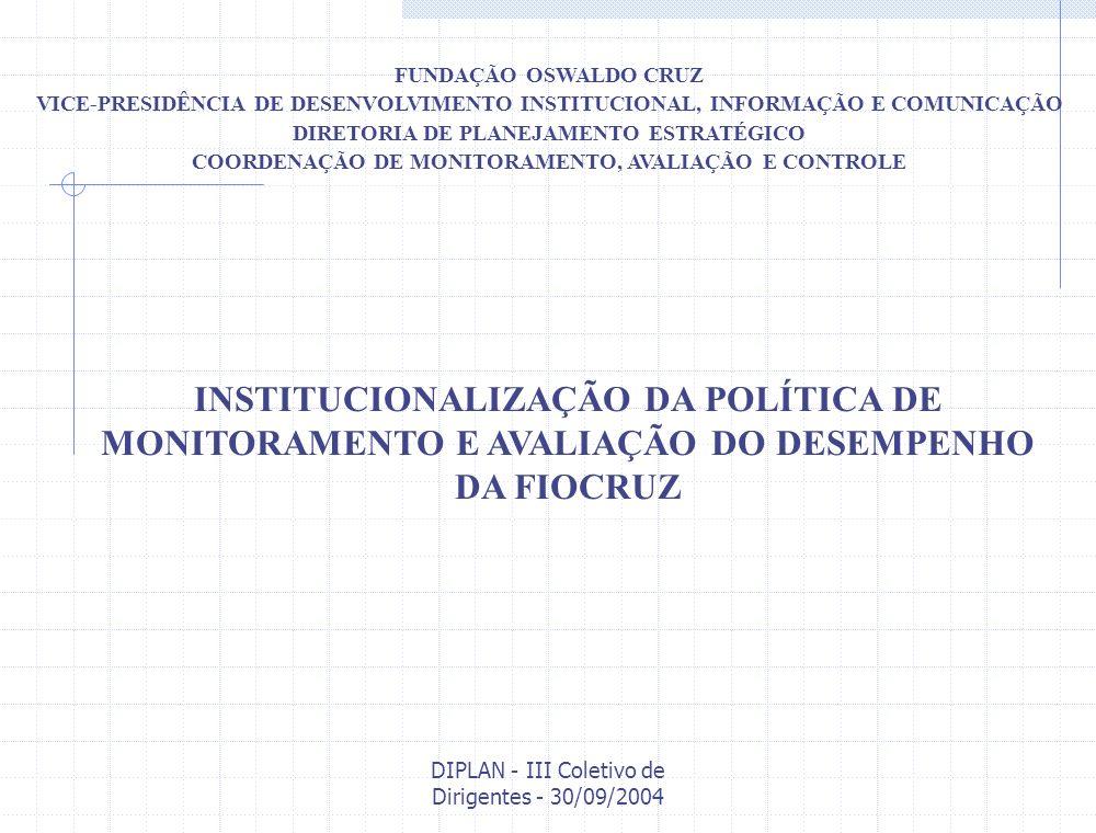 DIPLAN - III Coletivo de Dirigentes - 30/09/2004 Dispositivos institucionais para a estruturação do Sistema de Monitoramento e Avaliação na Fiocruz Produtos, indicadores e parâmetros Níveis/Espaços de discussão/decisão Fontes e fluxos de informação Incentivos ao desempenho