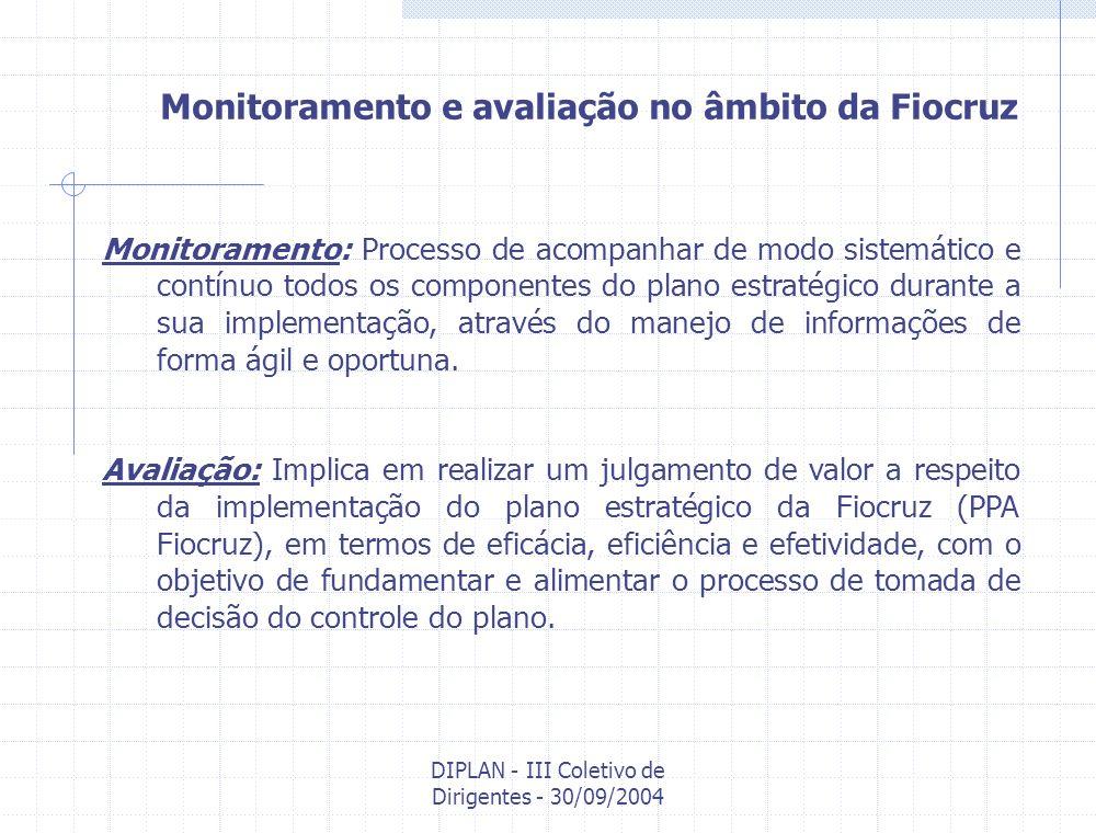 DIPLAN - III Coletivo de Dirigentes - 30/09/2004 Dispositivos institucionais para a estruturação do Sistema de Monitoramento e Avaliação na Fiocruz Departamentos Unidades Diretoria Executiva Presidência/ CD Congresso Interno Níveis/Espaços de discussão/decisão