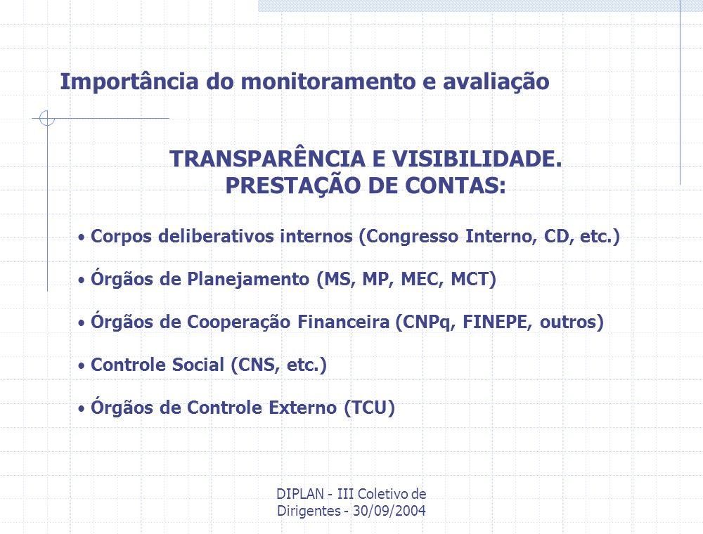 DIPLAN - III Coletivo de Dirigentes - 30/09/2004 Diretrizes do sistema de monitoramento e avaliação 3º) Não há monitoramento e avaliação sem plano.