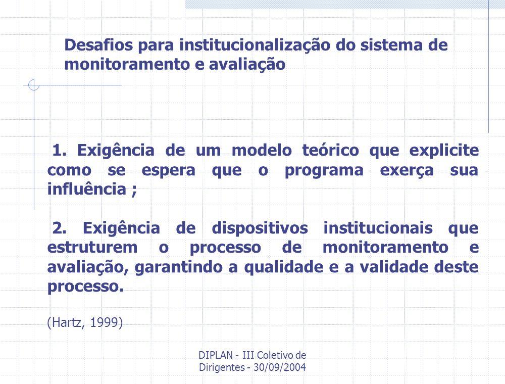 DIPLAN - III Coletivo de Dirigentes - 30/09/2004 Dispositivos institucionais para a estruturação do Sistema de Monitoramento e Avaliação na Fiocruz Produtos, indicadores e parâmetros Tipos de indicadores: Indicadores da Efic á cia: Medem o grau de alcance das metas programadas, em um determinado per í odo de tempo, independentemente dos custos/impactos implicados.