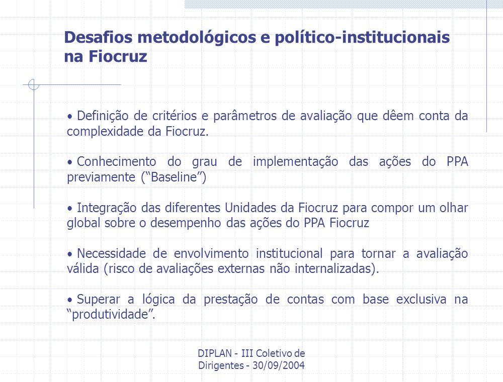 DIPLAN - III Coletivo de Dirigentes - 30/09/2004 Desafios metodológicos e político-institucionais na Fiocruz Definição de critérios e parâmetros de av