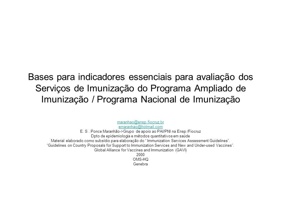 Bases para indicadores essenciais para avaliação dos Serviços de Imunização do Programa Ampliado de Imunização / Programa Nacional de Imunização maran