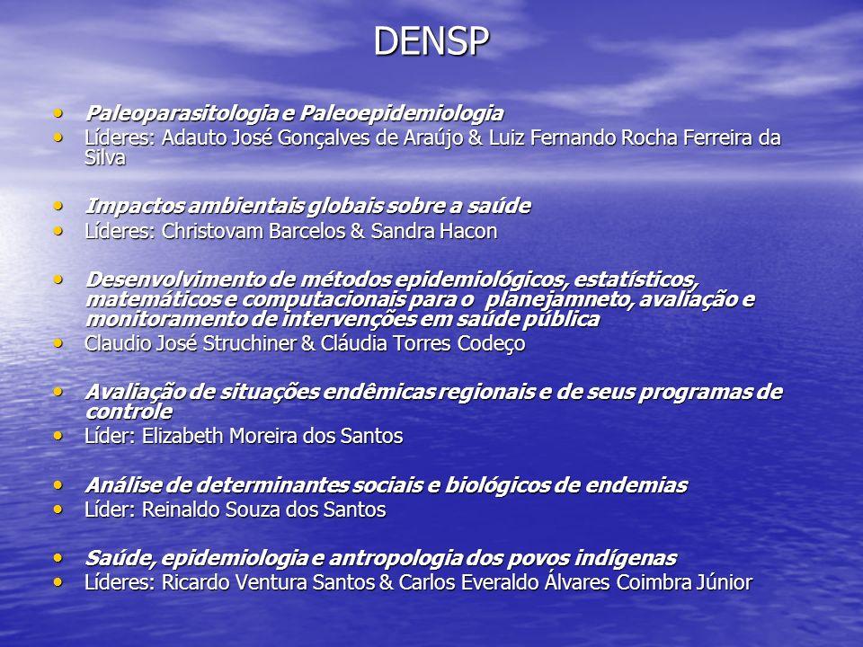 DENSP Paleoparasitologia e Paleoepidemiologia Paleoparasitologia e Paleoepidemiologia Líderes: Adauto José Gonçalves de Araújo & Luiz Fernando Rocha F