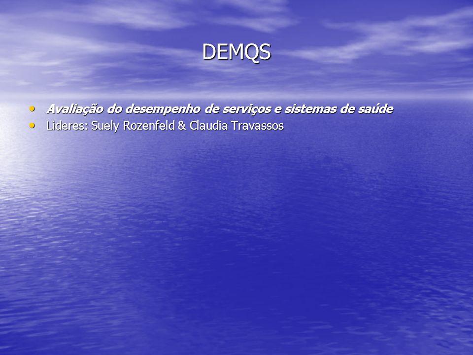 DEMQS Avaliação do desempenho de serviços e sistemas de saúde Avaliação do desempenho de serviços e sistemas de saúde Lideres: Suely Rozenfeld & Claud