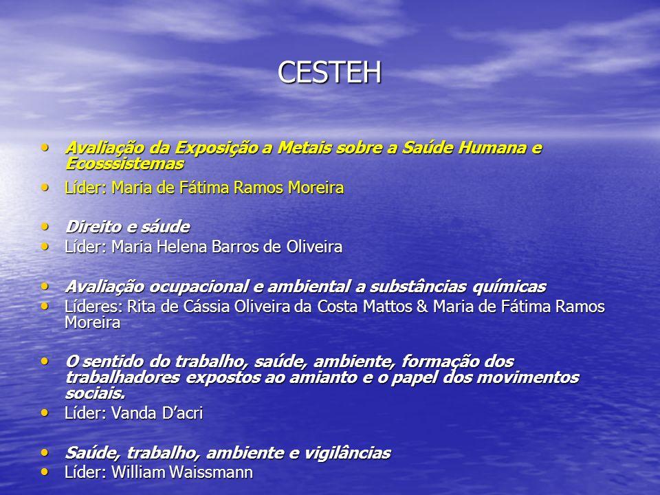 CESTEH Avaliação da Exposição a Metais sobre a Saúde Humana e Ecosssistemas Avaliação da Exposição a Metais sobre a Saúde Humana e Ecosssistemas Líder