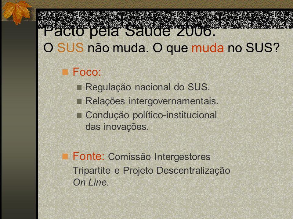 2003/2005: Estratégias encaminhadas Plano Nacional de Saúde – um Pacto pela Saúde no Brasil (dezembro de 2004).