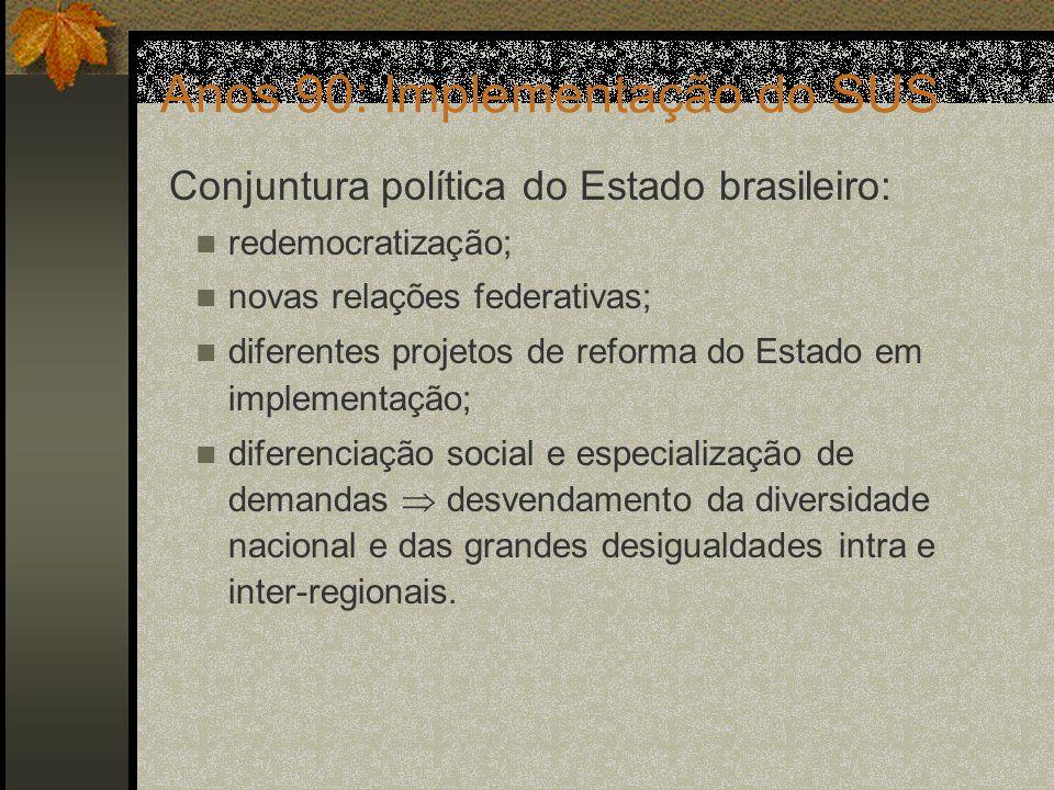 Anos 90: Implementação do SUS Grande desafio: Estruturar um sistema nacional de saúde, com gestão descentralizada em uma Federação recém ampliada.