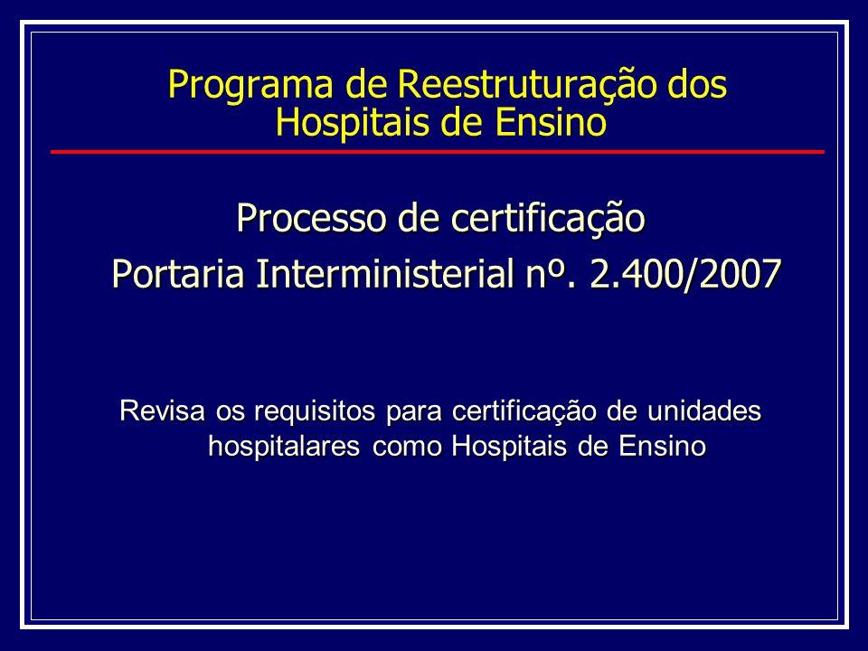 Certificação Internato e atividades curriculares de 2 cursos de graduação Programas de Residência Médica (proporcional ao nº.