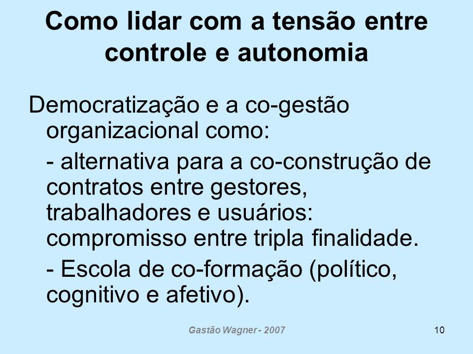 Gastão Wagner - 200710 Como lidar com a tensão entre controle e autonomia Democratização e a co-gestão organizacional como: - alternativa para a co-co