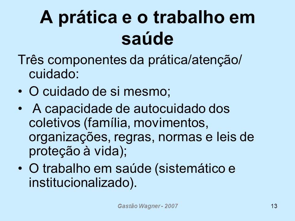 Gastão Wagner - 200713 A prática e o trabalho em saúde Três componentes da prática/atenção/ cuidado: O cuidado de si mesmo; A capacidade de autocuidad