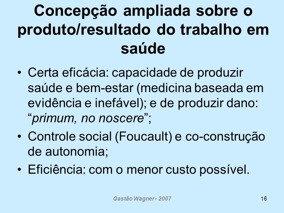 Gastão Wagner - 200716 Concepção ampliada sobre o produto/resultado do trabalho em saúde Certa eficácia: capacidade de produzir saúde e bem-estar (med