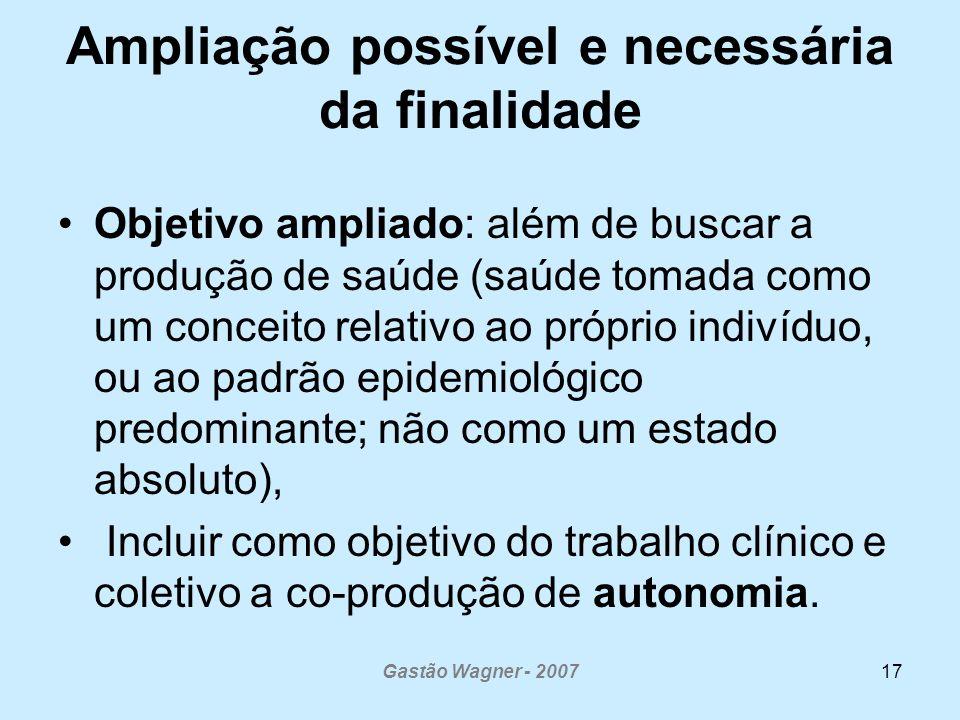 Gastão Wagner - 200717 Ampliação possível e necessária da finalidade Objetivo ampliado: além de buscar a produção de saúde (saúde tomada como um conce