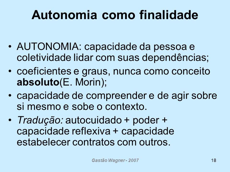 Gastão Wagner - 200718 Autonomia como finalidade AUTONOMIA: capacidade da pessoa e coletividade lidar com suas dependências; coeficientes e graus, nunca como conceito absoluto(E.
