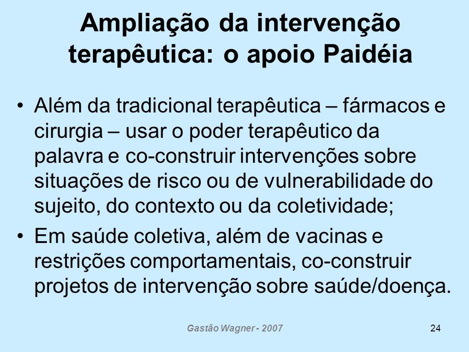 Gastão Wagner - 200724 Ampliação da intervenção terapêutica: o apoio Paidéia Além da tradicional terapêutica – fármacos e cirurgia – usar o poder tera