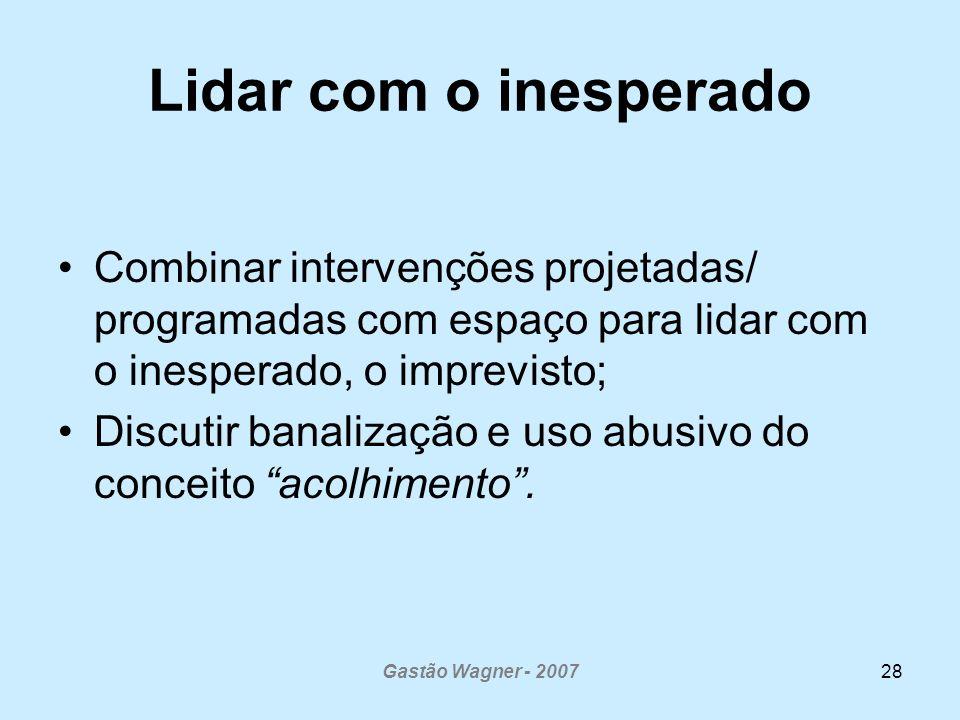 Gastão Wagner - 200728 Lidar com o inesperado Combinar intervenções projetadas/ programadas com espaço para lidar com o inesperado, o imprevisto; Discutir banalização e uso abusivo do conceito acolhimento.