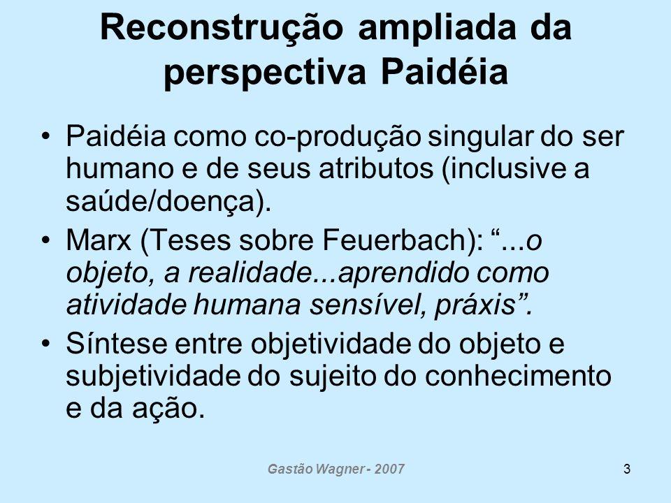 Gastão Wagner - 20073 Reconstrução ampliada da perspectiva Paidéia Paidéia como co-produção singular do ser humano e de seus atributos (inclusive a sa
