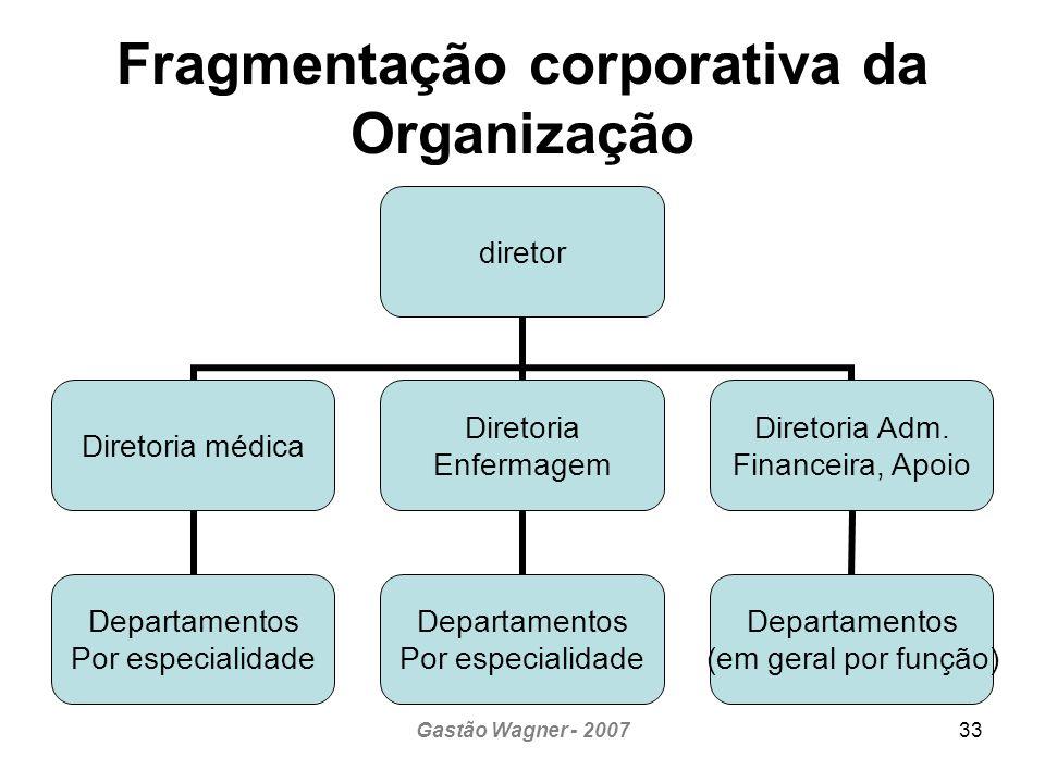 Gastão Wagner - 200733 Fragmentação corporativa da Organização diretor Diretoria médica Departamentos Por especialidade Diretoria Enfermagem Departamentos Por especialidade Diretoria Adm.