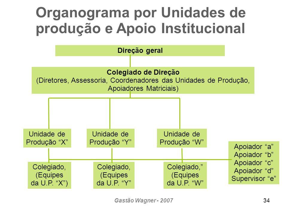 Gastão Wagner - 200734 Organograma por Unidades de produção e Apoio Institucional Direção geral Colegiado de Direção (Diretores, Assessoria, Coordenad