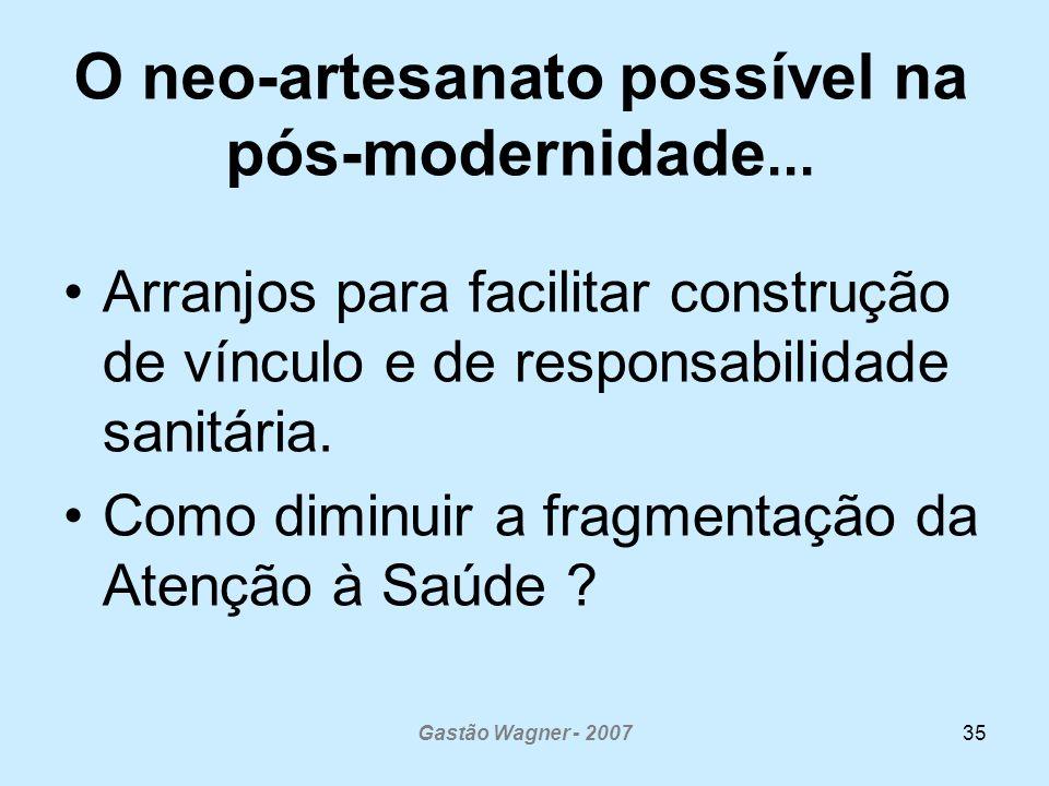 Gastão Wagner - 200735 O neo-artesanato possível na pós-modernidade... Arranjos para facilitar construção de vínculo e de responsabilidade sanitária.