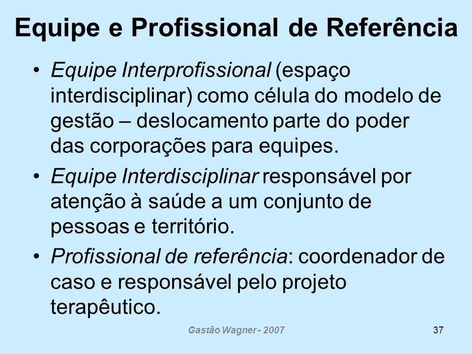 Gastão Wagner - 200737 Equipe e Profissional de Referência Equipe Interprofissional (espaço interdisciplinar) como célula do modelo de gestão – desloc