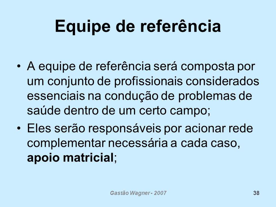 Gastão Wagner - 200738 Equipe de referência A equipe de referência será composta por um conjunto de profissionais considerados essenciais na condução