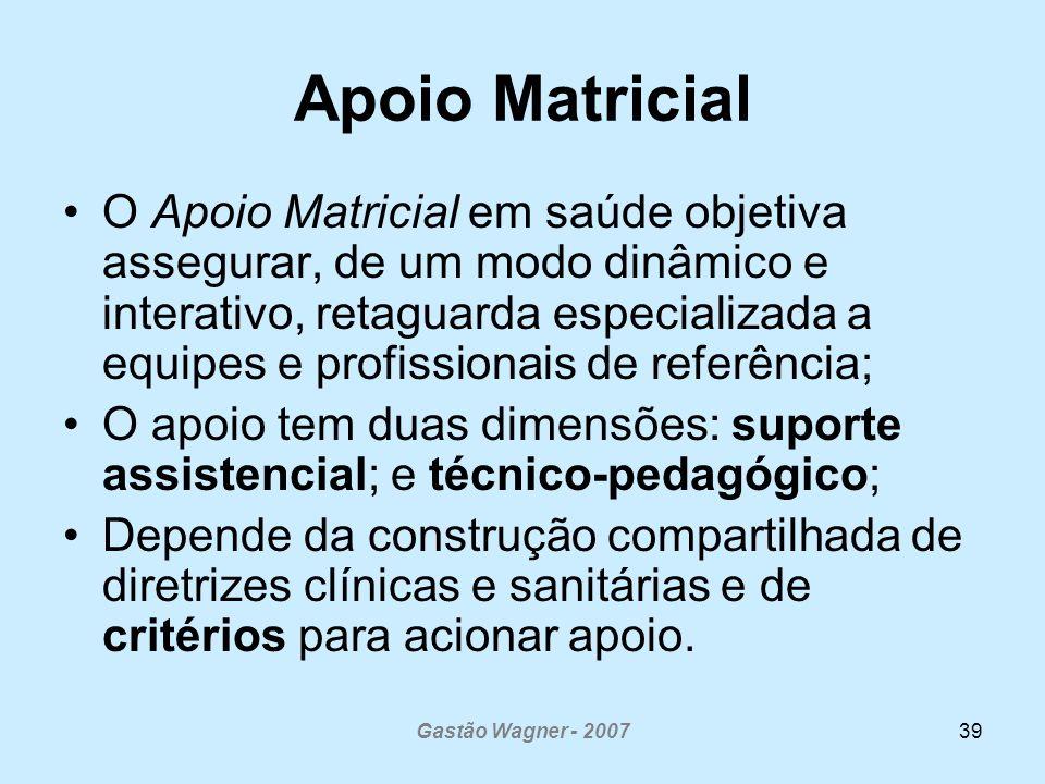 Gastão Wagner - 200739 Apoio Matricial O Apoio Matricial em saúde objetiva assegurar, de um modo dinâmico e interativo, retaguarda especializada a equ