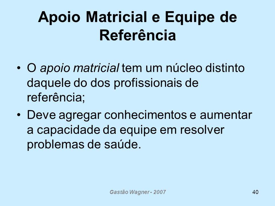 Gastão Wagner - 200740 Apoio Matricial e Equipe de Referência O apoio matricial tem um núcleo distinto daquele do dos profissionais de referência; Deve agregar conhecimentos e aumentar a capacidade da equipe em resolver problemas de saúde.