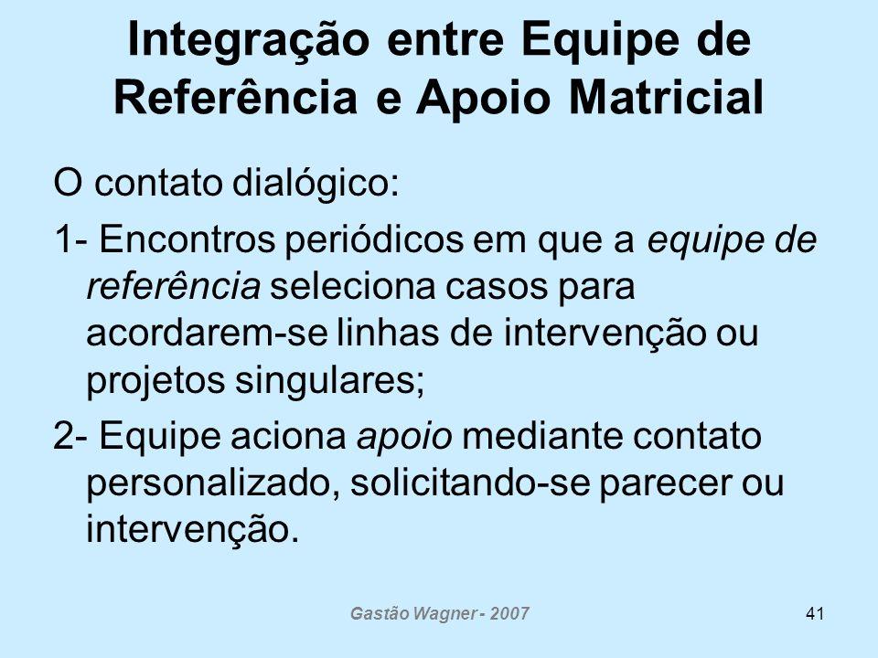 Gastão Wagner - 200741 Integração entre Equipe de Referência e Apoio Matricial O contato dialógico: 1- Encontros periódicos em que a equipe de referên
